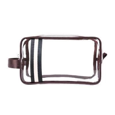 Trousse de toilette transparente bandes marron