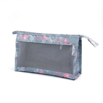 Trousse de toilette transparente bleu flamants rose