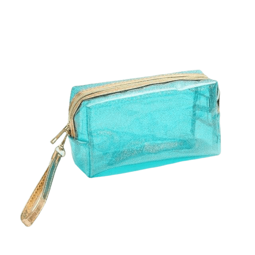 Trousse de toilette transparente brillante