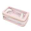 Trousse de toilette cuir transparente rose