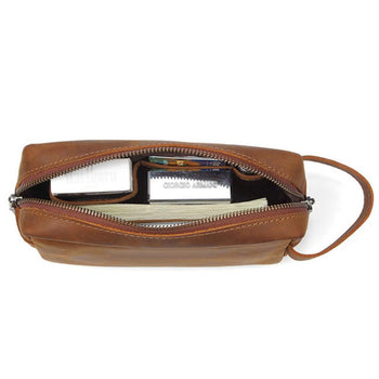 Trousse de toilette cuir marron
