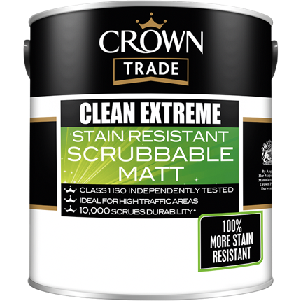 Crown Trade Clean Extreme Scrubbable Matt Paint - Buy Paint Online