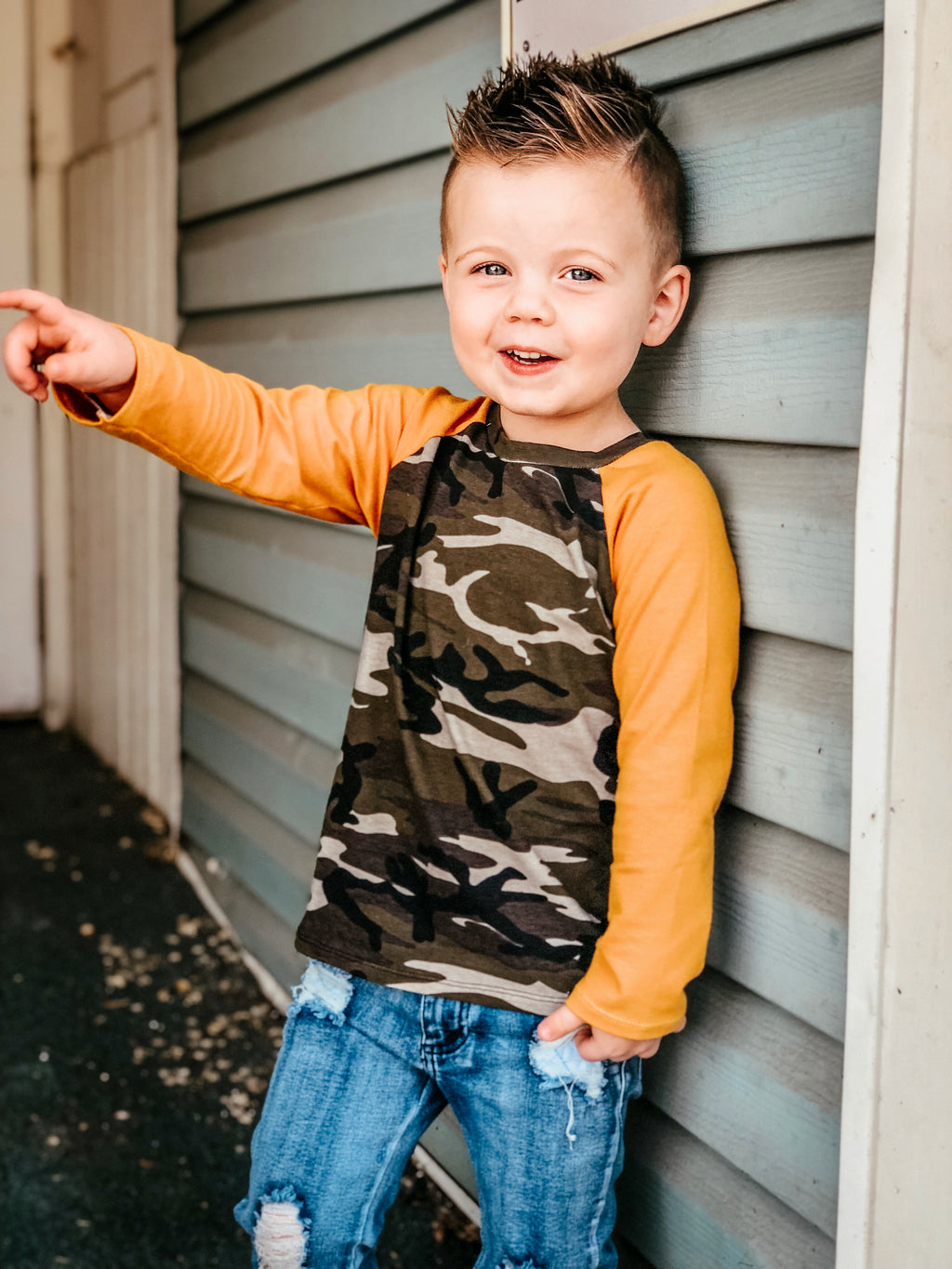 Camo and Mustard T Shirt