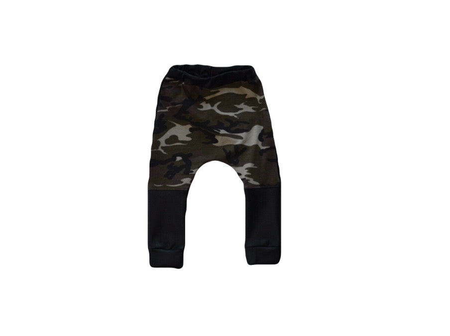 Camo Harem Pants with Leather Accents