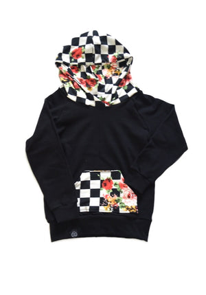 Checkered  Floral Accent Hoodie