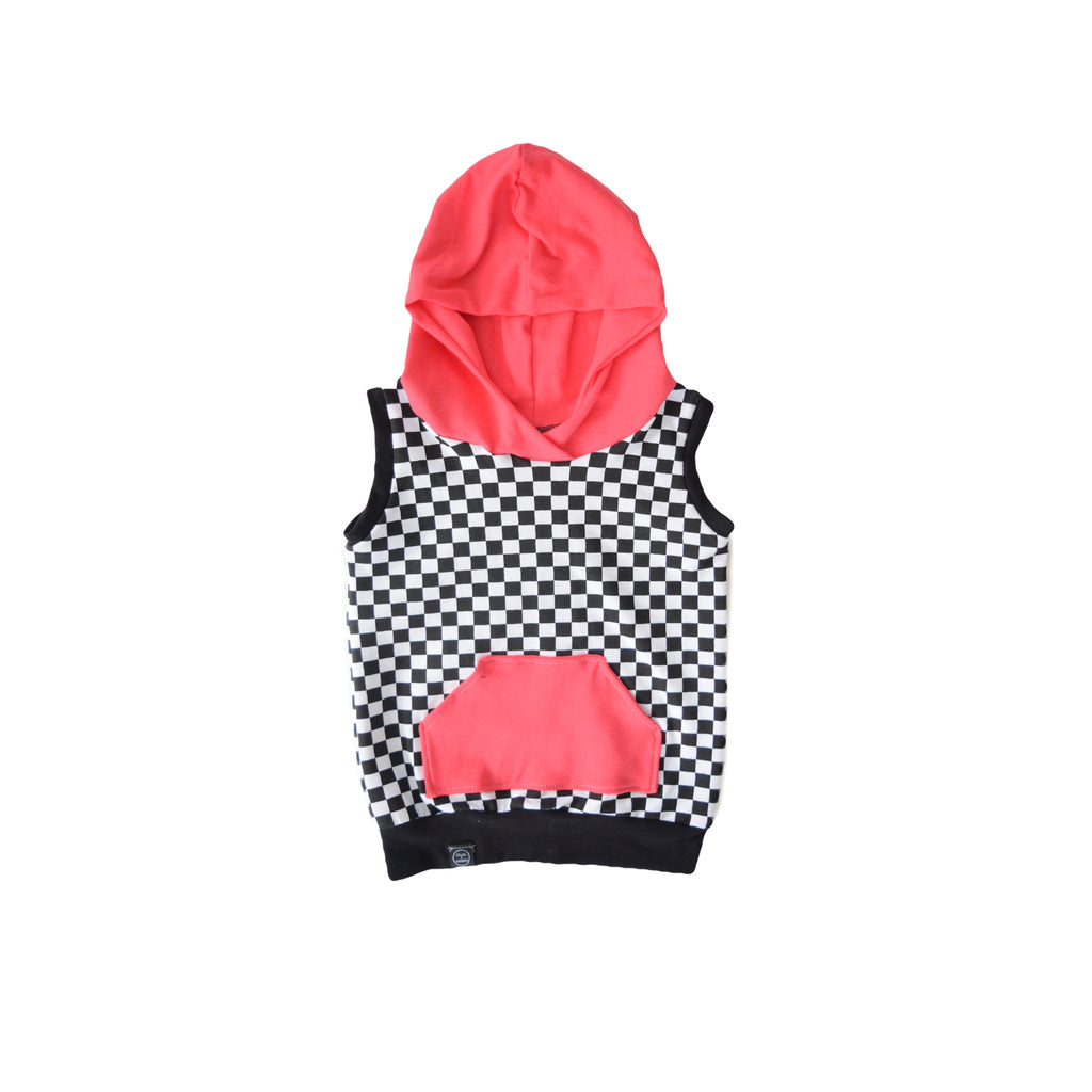 Checkered Hooded Sweatshirt - Bright Coral