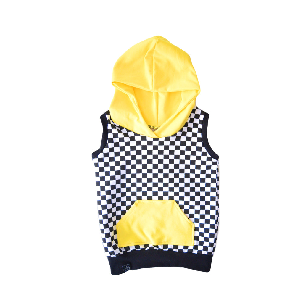 Checkered Hooded Sweatshirt - yellow