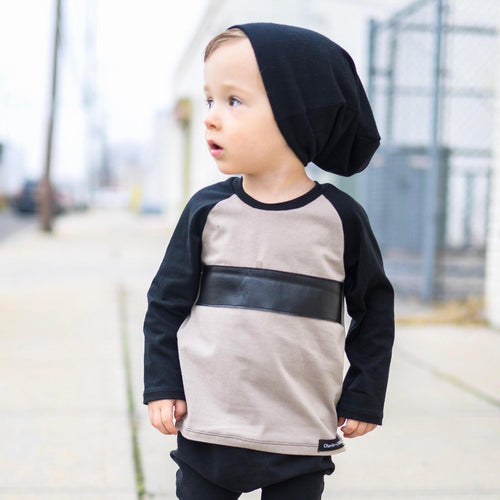 Black and Taupe Raglan T shirt