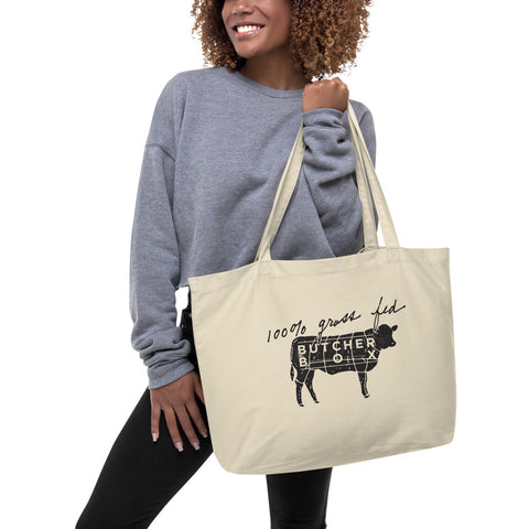 100% Grass Fed, Roam Free -  Double Sided Large organic tote bag