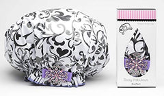 Dry Divas Designer Shower Cap For Women - Washable, Reusable - Large Bouffant Cap With Vintage Jeweled Brooch (I Heart U)