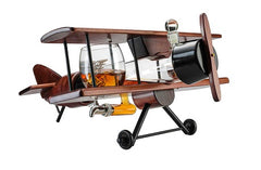 The Wine Savant Whiskey Decanter Airplane Set and Glasses Antique Wood Airplane