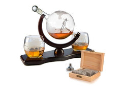 Etched World Decanter whiskey Globe - The Wine Savant Whiskey Gift Set Globe Decanter with Antique Airplane, Whiskey Stones and 3 World Map Glasses