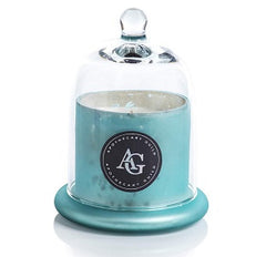Zodax Apothecary Guild Scented Frosted Candle Jar w/Dome Black Fig Vetiver Light Blue