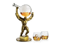 "The Wine Savant Atalas Bronze World Globe Whiskey Decanter - 15"" Tall - With 2 World Glasses"