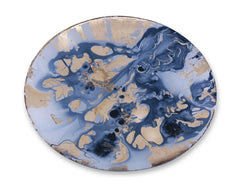 Beatriz Ball New Orleans Glass Blue and Gold Marble Large Round Platter