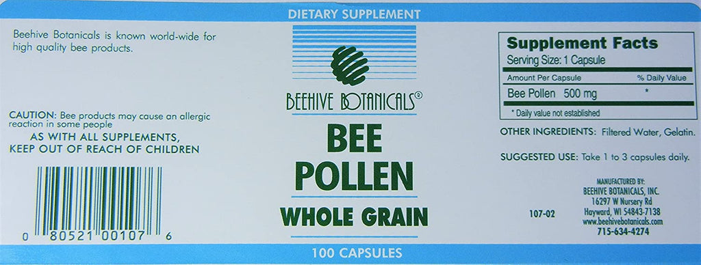 Beehive Botanicals Pollen Capsules - 500 mg