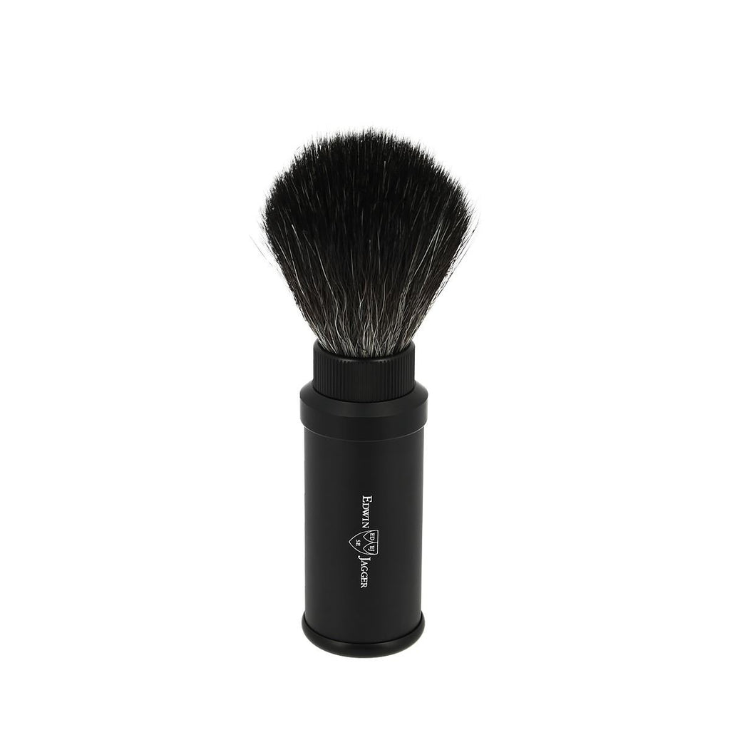 Edwin Jagger Black Travel Shaving Brush With Black Synthetic Fill