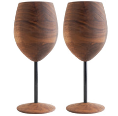 David Rasmussen Designs, Blasphemy Walnut Wine Glass, Black Stem, Set of 2