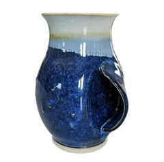 Castle Arch Pottery Hand Warmer Mug 17 Ounces, Right Handed Microwave and Dishwasher Safe Hampton Blue - Left Handed