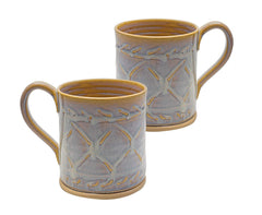 Castle Arch Pottery Oileán Mugs Handmade In Ireland, Ideal For Coffee and Tea, Use For Hot and Cold Beverages, Beautiful Design And Stamp (White)