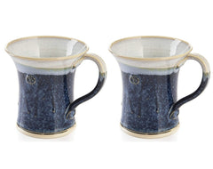 CASTLE ARCH POTTERY Handmade Irish Coffee Tea & Beer Mugs. Set of Two Hand-Thrown Cups - Limited Edition Large (Hampton Blue)
