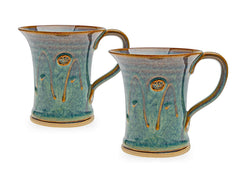 CASTLE ARCH POTTERY Handmade Irish Coffee Tea & Beer Mugs. Set of Two Hand-Thrown Cups - Limited Edition Large (Mountain Green)