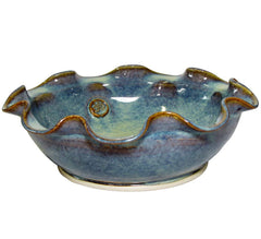 Castle Arch Pottery Green Wavy Serving Bowl