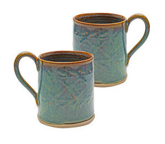 Castle Arch Pottery Oileán Mugs Handmade In Ireland, Ideal For Coffee and Tea, Use For Hot and Cold Beverages, Beautiful Design And Stamp (Green)
