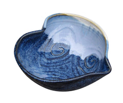 "Castle Arch Pottery Small Heart Shaped Decorative Serving Bowl Handmade in Ireland. Original Design Tableware Dish Measures 6"" with Hand-Glazed Spiral Finish"