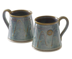 Castle Arch Pottery Set Of 2 Cylinder Coffee/Tea Mugs, Handmade In Ireland, For Coffee and Tea, For Hot and Cold Beverages Wash in Dishwasher (Hampton Blue)