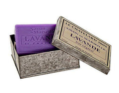 Le Chatelard 1802, French Provence Extra Gentle Lavender Bar Soap in Metal Rectangular Box (Savon Extra Doux, Lavande de Provence), 3.5 oz