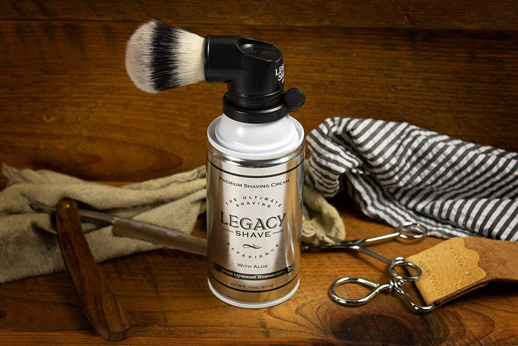 Legacy Shave – The Ultimate Shaving Experience GIFT SET – Shave Brush Attached to Can of Legacy Shave Premium Shave Cream - Aloe and Soothing After Shave Balm Shea Butter - Unique Gift for Men (Black)