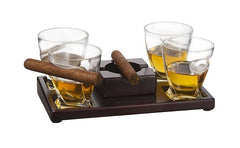 The Wine Savant Cigar Holder Whiskey Glasses Set