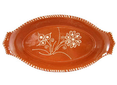 "Ceramica Edgar Picas Vintage Portuguese Glazed Terracotta Hand Painted Serving Platter (N.2 13"" Inches Length)"