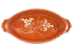 "Ceramica Edgar Picas Vintage Portuguese Glazed Terracotta Hand Painted Serving Platter (N.1 11"" Inches Length)"