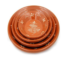 Ceramica Edgar Picas Portuguese Hand Painted Deep Terracotta Clay Serving Plate Ladeira Regional - Set of 2