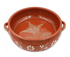 "Ceramica Edgar Picas Traditional Portuguese Hand-painted Vintage Clay Cazuela Terracotta Cooking Pot (N.6 13.75"" Diameter)"