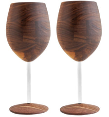 David Rasmussen Design Dark Walnut Wooden WUD Wine Glass with Clear Stem Set of 2