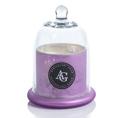 Zodax Apothecary Guild Scented Frosted Candle Jar w/ Glass Dome Black Fig Vetiver Pink