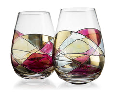 The Wine Savant Hand Painted Stemless Wine Glasses Set of 2 - Extra Large Goblets