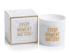 "Zodax Apothecary Guild Porcelain Scented Candle Jar "" Every Moment Matters"" Fig Vetiver 3.5"" x 3.5"" 40 Hour Burn Time"