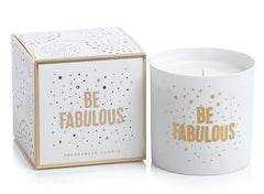 "Zodax Apothecary Guild Porcelain Scented Candle Jar 3.5"" x 3.5"" ""Be Fabulous"" Fig Vetiver 40 Hour Burn Time"