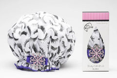 Dry Divas Designer Shower Cap - Washable, Reusable - Large Bouffant With Vintage Jeweled Brooch (Fabu-lash)