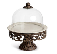 GG Collection Cake Pedestal With Glass Dome Cake Stand