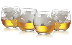 Etched World Globe Glasses 12 oz -Set of 4