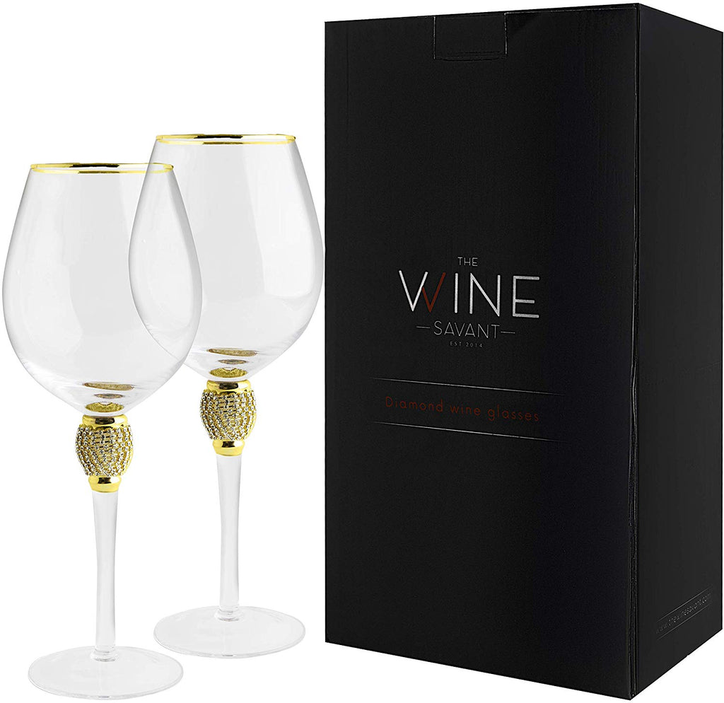 The Wine Savant Large Diamond Wine Glasses, With Gold Rim Set of 2