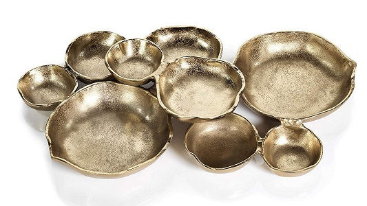 "Zodax Cluster of 9 Round Serving Bowls Gold Tone Nickel Base 19"" x 12"" x 2.5"""