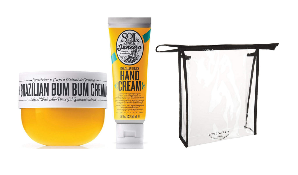 Sol de Janeiro Brazilian Bum Bum Cream (75ml) and Brazilian Touch Hand Cream 1.7 oz / 50 ml - Featuring a Gute Carrying Cosmetic Bag (3 piece bundle)