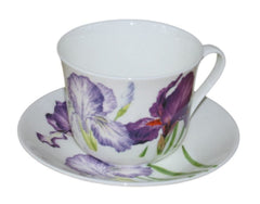 Roy Kirkham Jumbo Breakfast Cup and Saucer in Iris Design