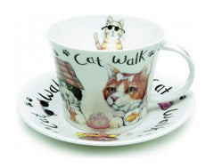 Roy Kirkham Animal Fashion Cat Breakfast Cup & Saucer in Fine Bone China